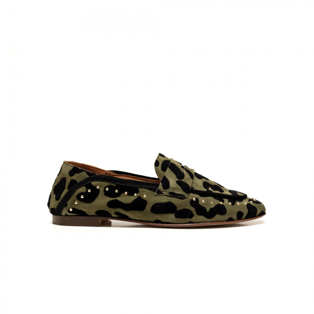 Logie Leopard Suede Green wood