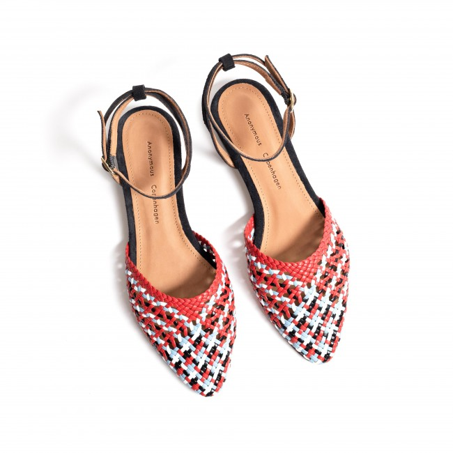 Senara braided leather red multi