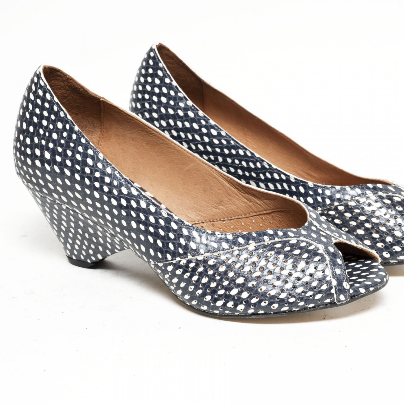 Tiffany Spotted snake calf Blue - Size 38