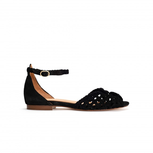 Lucy 10 Braided Leather Black
