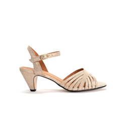 Hermine Metallic calf suede Cream gold