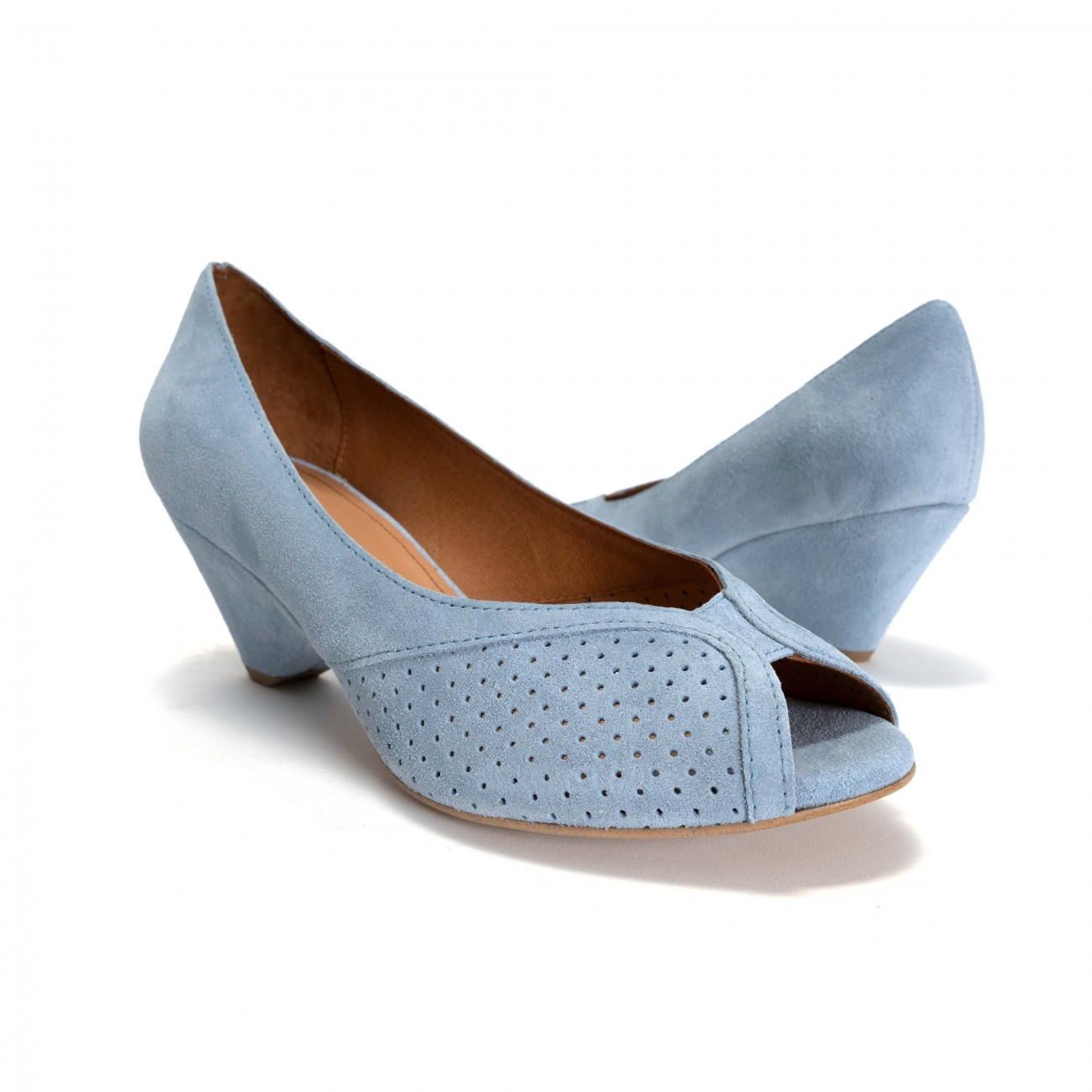 Anonymous Copenhagen Tiffany Triangle Calf suede Sky blue