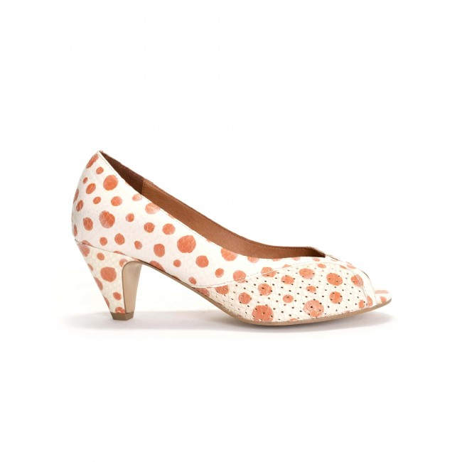 Tiffany Stiletto Spotted snake calf Off white Coral